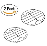OWIKAR 2 Pack Air Fryer Rack Cooking Steaming Cooling Multi-Purpose 7 Inch Stainless Steel Round Rack Cross Wire w Stand Cookware Fit for Air Fryer Instant Pot Pressure Cooker Canning
