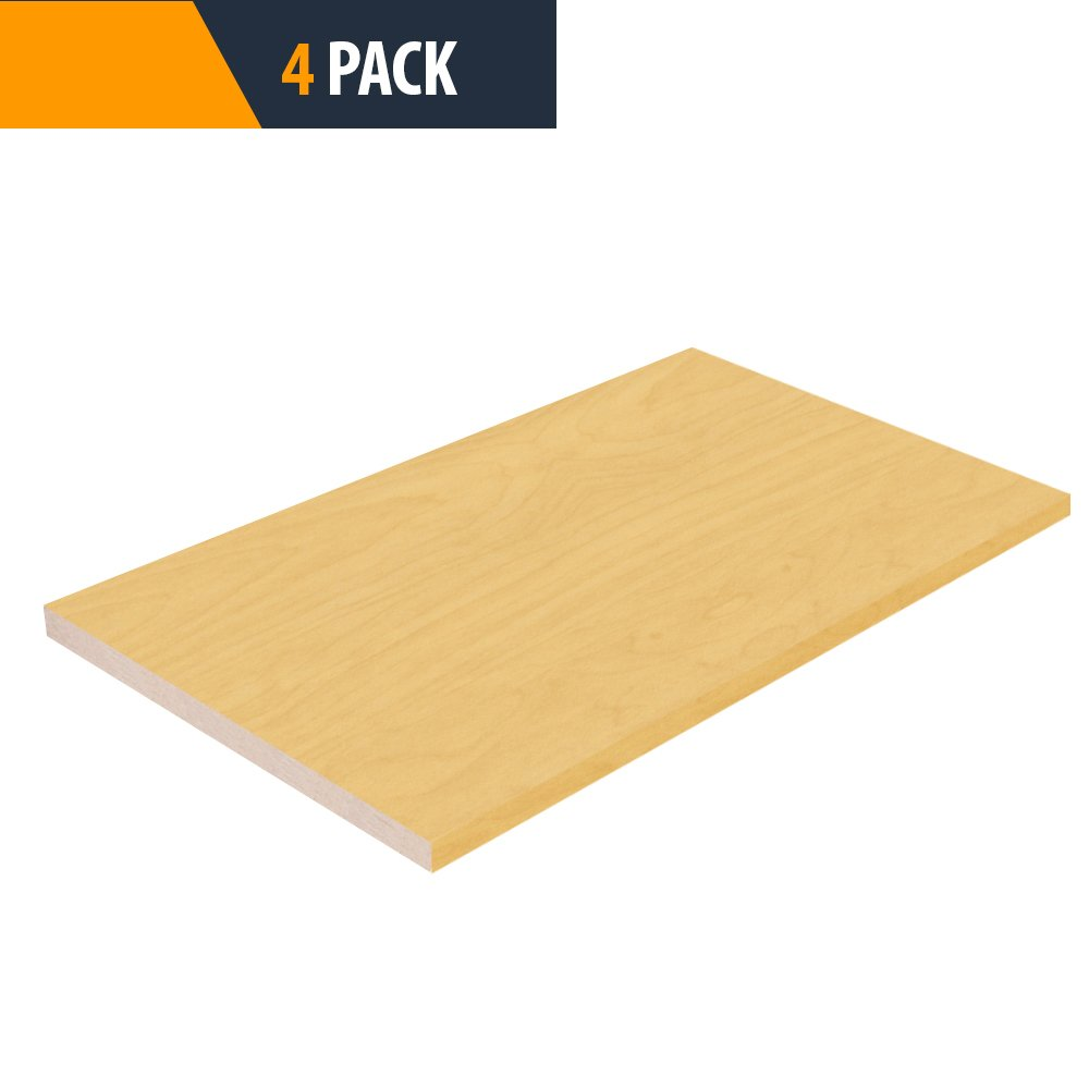Pro Pack 4 - Maple Closet Shelves Melamine - Choose Your Accurate Size (1/4, 1/2, 3/4) by TFKitchen