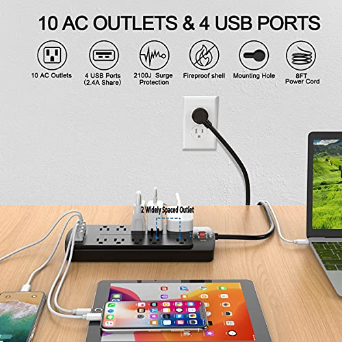 Power Strip with 8 Ft, YINTAR Surge Protector with 10 Outlets and 4 USB Ports, 8 Feet Flat Plug Extension Cord (1875W/15A) for for Home, Office, Dorm Essentials, 2100 Joules, ETL Listed, - Black