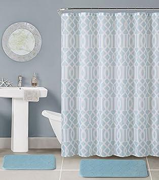Beau Bathroom 15 Piece Set Memory Foam Bath Mats, Shower Curtain And Rings, Light  Blue