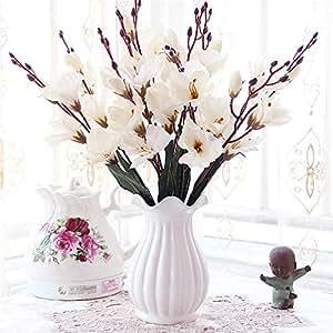 Licxcx Flores Artificiales Sala de Estar Mesa Flor decoración Porcelana Botella arreglo de Flores Flor de plástico Rosa decoración Conjunto Flor Artificial, Botella Blanca, gladiolo Blanco