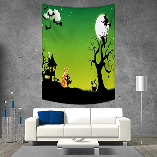 Halloween Wall Hanging Tapestries Witches Dancing with Fire and Flying at Halloween Ancient Western Horror Image Large tablecloths 70W x 93L INCH Green Black ()