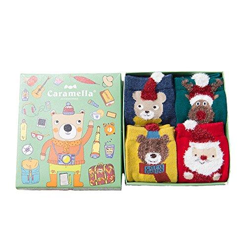 "Price comparison product image AMPretty Kids Socks For Toddler Baby Boys Girls 4Sizes Pack Child Christmas Socks Gift Bag For Boys Girls 5-8years 7""-7.9"""