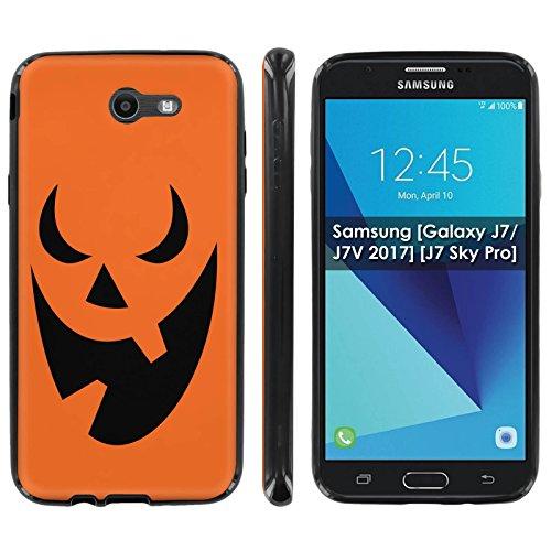 Samsung [Galaxy J7/J7V 2017] [J7 Sky Pro] Soft Mold [Mobiflare] [Black] Thin Gel Protect Cover - [Pumpkin Face] for Galaxy J7 [2017] [5.5