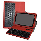 Verizon Ellipsis 10 Wireless Keyboard Case,Mama Mouth Coustom Design Slim Stand PU Leather Case Cover with Romovable Wireless Keyboard for 10.1' Verizon Ellipsis 10 Android Tablet,Red