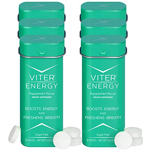 (Viter Energy Caffeinated Mints - 40mg Caffeine & B-Vitamins Per Powerful Sugar Free Mint. Boost Energy, Focus & Fresh Breath. 2 Pieces Replace 1 Coffee (Peppermint, 6-Pack))