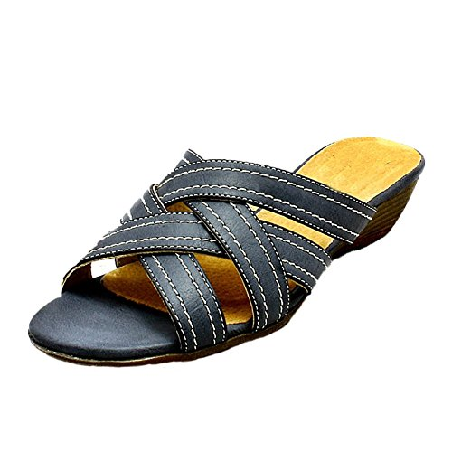 Low Wedge Open Toe Comfort Sandals - 3 Colours Navy blue dKMEp8