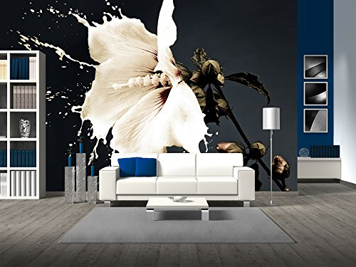 wall26 - white flowers with milk splash on dark background - Removable Wall Mural | Self-adhesive Large Wallpaper - 66x96 inches (Peel Murals Stick And)