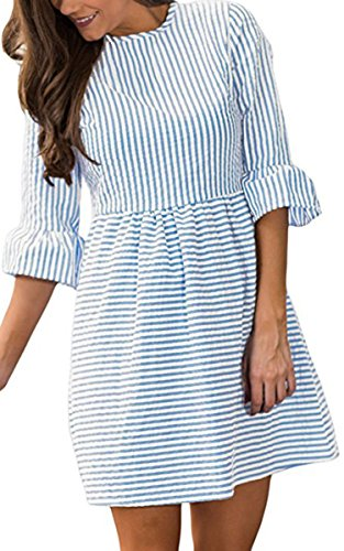 Angashion Womens 3/4 Bell Sleeve Striped Seersucker Pleated Skater Dress Casual Mini (Bell Skirt)