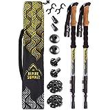 Alpine Summit 100% Carbon Fiber Trekking Poles w/Cork Grips - Collapsible Hiking/Walking Sticks