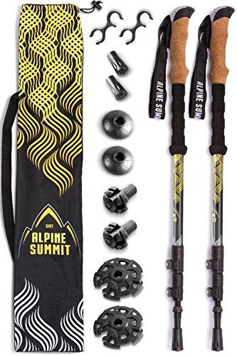 Alpine Summit 100% Carbon Fiber Trekking Poles w/Cork Grips - Collapsible Hiking/Walking Sticks (Alpine Spring)