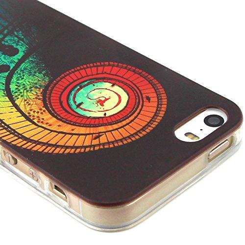 Fashion Coque pour Apple iphone 5/5s, Crystal Housse en Soft TPU Gel Silicone pour iphone 5s, iphone 5 Flexible Souple Cas Back Case Cover de Protection, Ultra Slim Créatif Dessin Couleur Motif de esc
