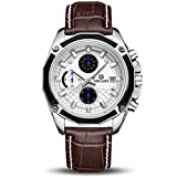 MEGIR Men's Analog Fashion Casual Army Military Chronograph Luminous Quartz Wrist Watch with Leather Strap Sport Business Office Work Gift for Pilot Runner Racer ML2015GBN-7
