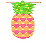 Evergreen Pineapple Shaped Outdoor Safe Double-Sided Linen House Flag, 28 x 44 inches For Sale