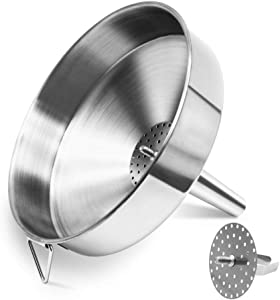 Stainless Steel Large Funnel with Detachable Strainer/Filter for Cooking Oil and Transmission Liquid and Powder, Food Grade Metal Kitchen Funnels