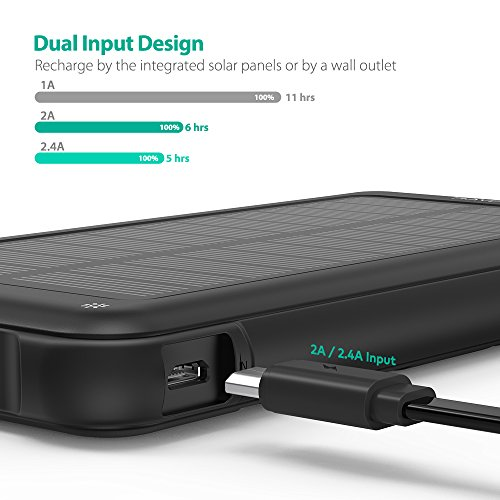 Solar Charger RAVPower 10000mAh Outdoor Battery Pack with iSmart 2.0 and Dual Input (Solar and Outlet), Shockproof Solar Power Bank with LED Flashlight for iPhone, Galaxy, Android, and More by RAVPower (Image #2)