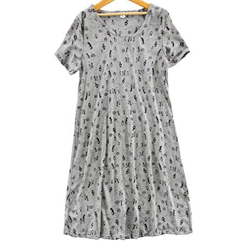 ENJOYNIGHT Women's Sleepwear Cotton Sleep Tee Short Sleeves Print Sleepshirt (Medium, Grey Penguin)