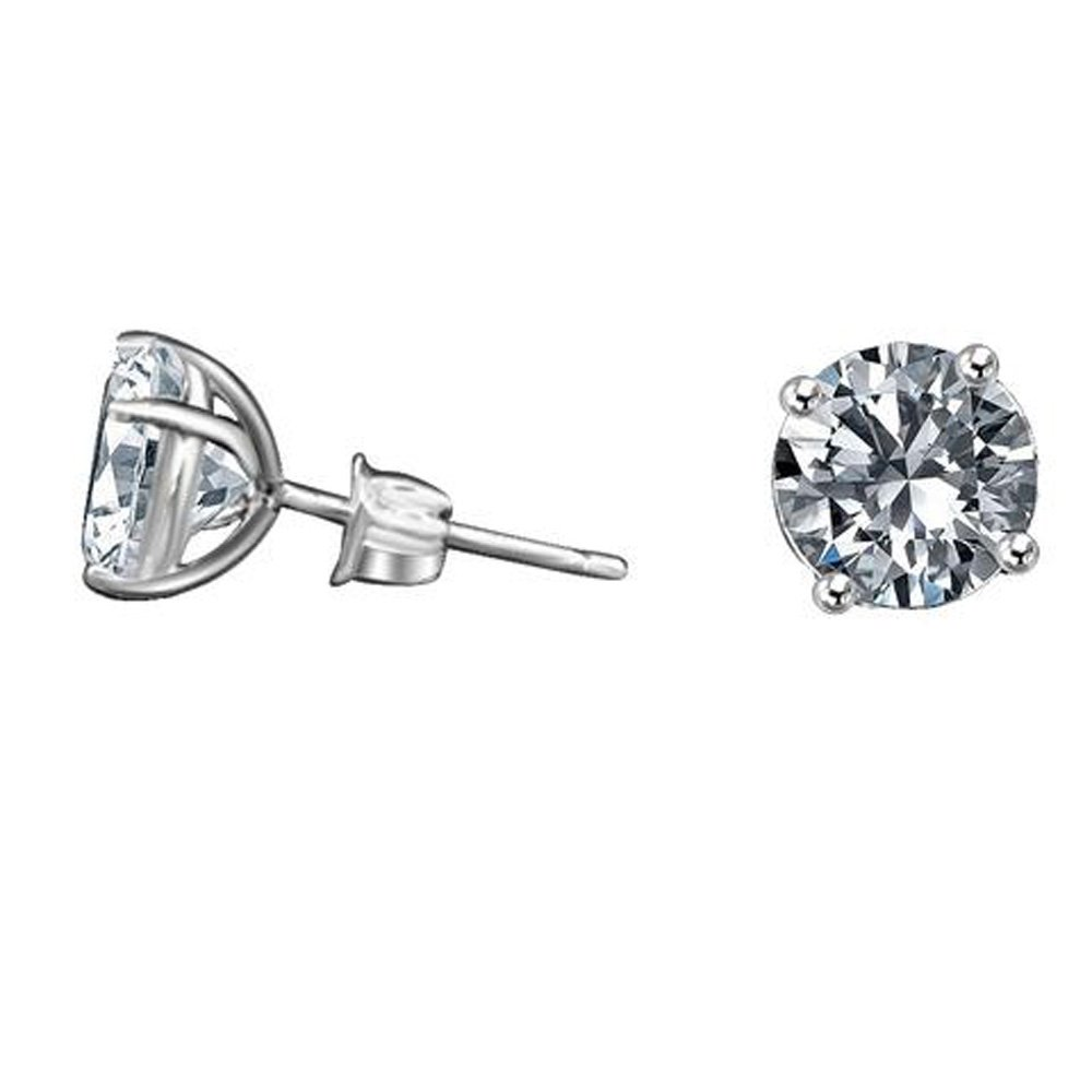 Diamond Veneer -14k (10CT) Solid Gold Set with Simulated Diamond Basket Settings Stud Earrings (White Gold)