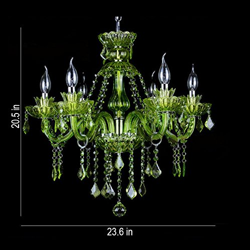 LgoodL Green Color Crystal Lamp Coffee Fresh Green Garden Chandelier Hotel Creative Candle Lamps 6 Heads
