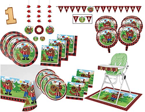 Lumberjack Bear Buffalo Plaid First Birthday Party Supply Mega Bundle for 16 Guests - Includes Plates, Napkins, Tablecover and Decorations