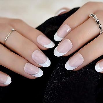 EchiQ uñas postizas francesas de color rosa natural, 24 unidades ...