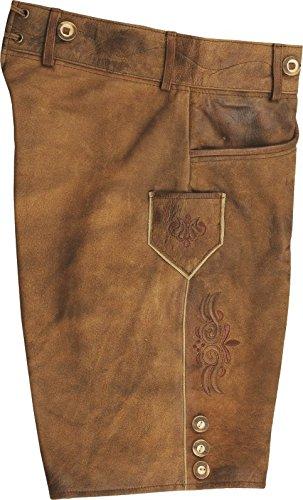 echt Leder Trachten Lederhose Herren kurz Damen Trachtenlederhose im Antik Nubuk Karamell Lederhose mit Tr/äger