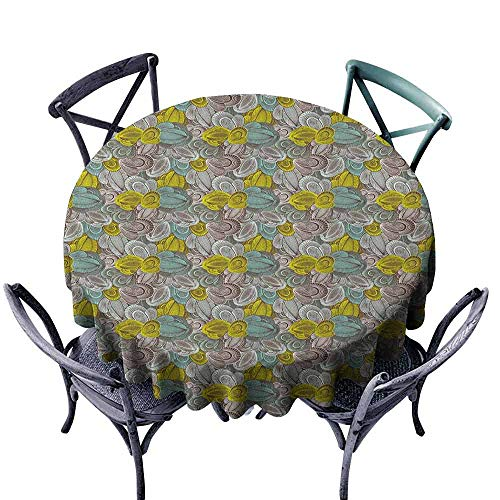 Coastal Chocolate Mint - duommhome Abstract Waterproof Tablecloth Floral Pattern Line Art Foliage Design Hand Drawn Doodle Indoor Outdoor Camping Picnic D39 Yellow Green Mint Green Chocolate