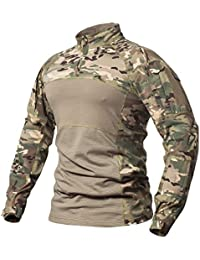 d5182ee4c667 Men s Tactical Military Combat Shirt Cotton Army Assault Camo Long Sleeve T  Shirt