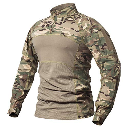 ReFire Gear Men Tactical Combat Airsoft Shirt Military Camouflage T Shirt Lightweight Elastic Cotton Army Training Shirt with 1/4 Zipper, Cp, Small (Gear Tactical Airsoft)
