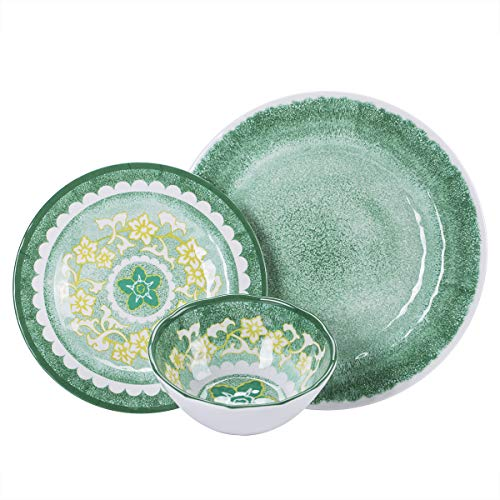 CoCorea Melamine Dinnerware Sets, 12-Piece Unbreakable Plates and Bowls, Dishwasher Safe – Ideal for Outdoor RV Camping…