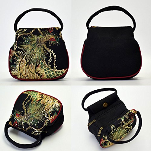 Phone Black Canvas Bag Blue Women Pouch Small Retro JAGENIE Peacock Ethnic Embroidery Handbag Case fOqzHRwx5