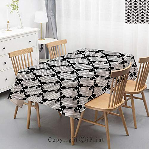 Natural Cotton Linen Rectangle Tablecloth Garden Botanic Print Pattern Country Rustic Village Burlap Table Cover Cloth Art,55x79 Inch,Gothic,Halloween Horror Theme Spooky Black Skulls Checkered Patter]()