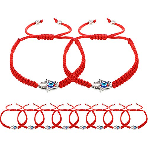 (Norme 10 Pieces Kabbalah Bracelet Red String Bracelet Lucky Bracelet with Rotating Evil Eye Hamsa Hand)