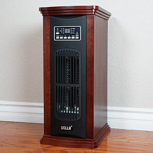Della Portable Electric Infrared Quartz Oscillating Tower Heater / Fan Freestanding, 1500W Della Infrared Heaters