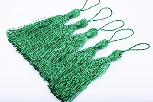 KONMAY 20pcs Silky Handmade Tiny(3.5'') Soft Craft Mini Tassels with Loops for Bookmarks Jewelry Making, Decoration DIY Projects (Kelly Green) (Kelly Mini)
