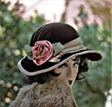 Downton Abbey Vintage Style Wide Brim Fall Winter Hat