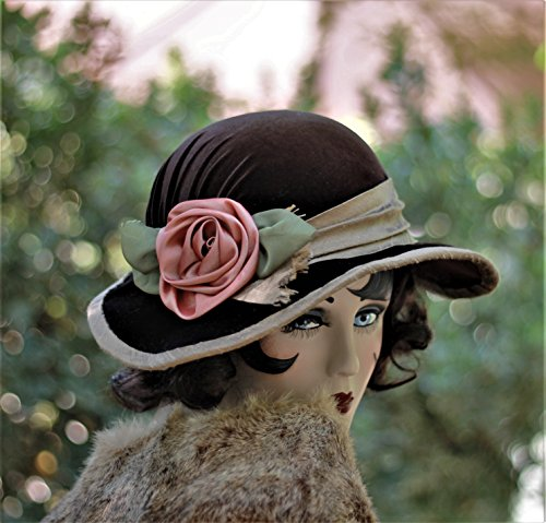 Downton Abbey Vintage Style Wide Brim Fall Winter Hat by Hats by Gail