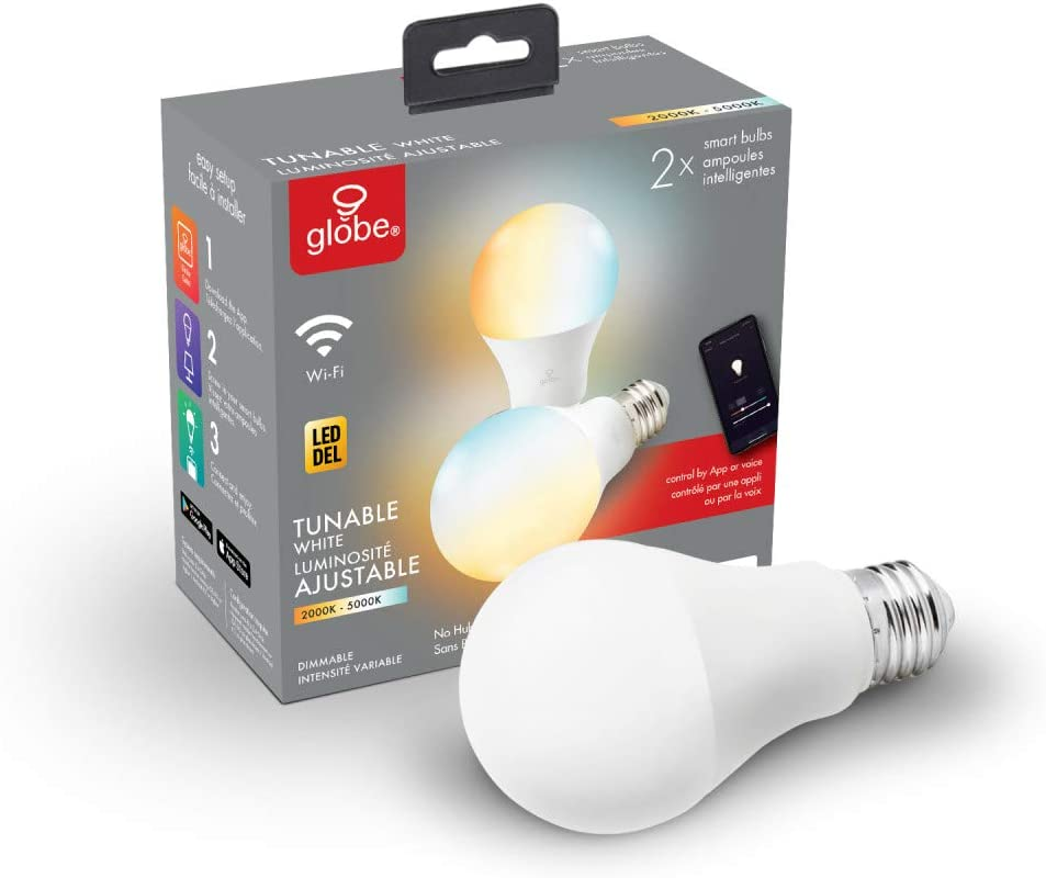 Wi-Fi Smart 10 Watt (60W Equivalent) Tunable White Frosted LED Light Bulb 2-Pack, No Hub Required, Voice Activated, 2000K - 5000K, A19 Shape, E26 Base,34208