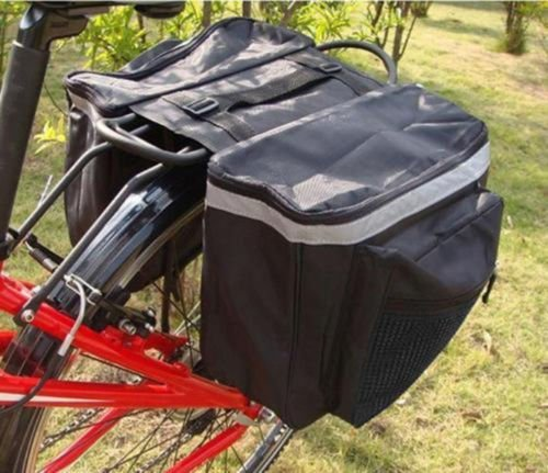 Yosoo Water-resistant Bicycle Seat Bag, Black Cycling Bicycle Bike Rack Back Rear Seat Tail Carrier Trunk Double Pannier Bag