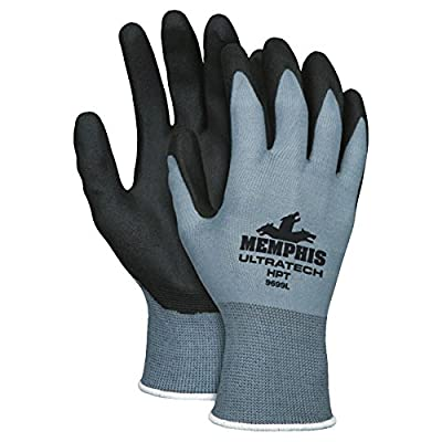 Memphis Glove 127-9699L Ultra Tech Air Infused Glove, PVC, 18 gal, Large, Black (Pack of 12)