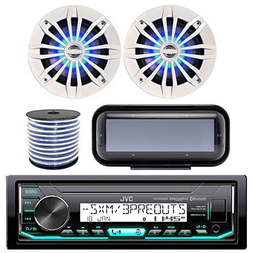 JVC KD-X33MBS In-Dash Marine Boat Bluetooth Radio USB Receiver Bundle Combo With Pair Of White Enrock EKMR1672W 6.5