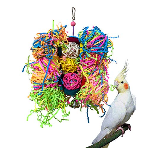 Vehomy Bird Parrot Toys to Shred Handmade Parrot Shredding Foraging Climbing Chewing Toy for African Greys Amazons Eclectus Cockatoos Macaw Bird Shredder with Rattan Balls ()