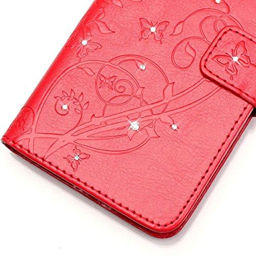SRY-Conjuntos de teléfonos móviles de Huawei Estuche HUAWEI 5X, con cordón, diamante, ranura para tarjetas, carcasa de teléfono plana en relieve para HUAWEI 5X Proteja completamente el teléfono ( Colo Red