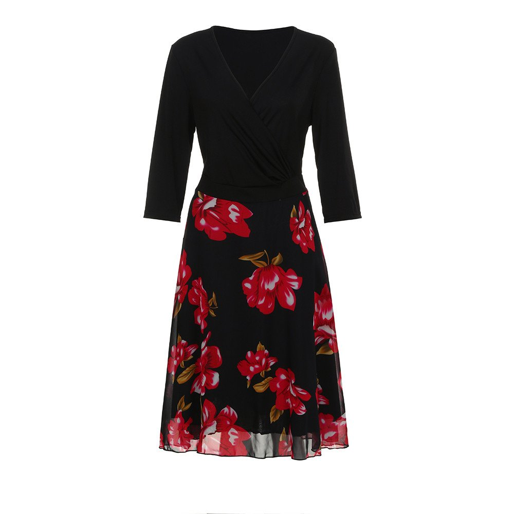 ac1c14d4d5 Amazon.com  Womens Floral Dress V Neck Wrap Midi Dresses Chiffon Plus Size  Prom Dress Meyerlbama (5XL