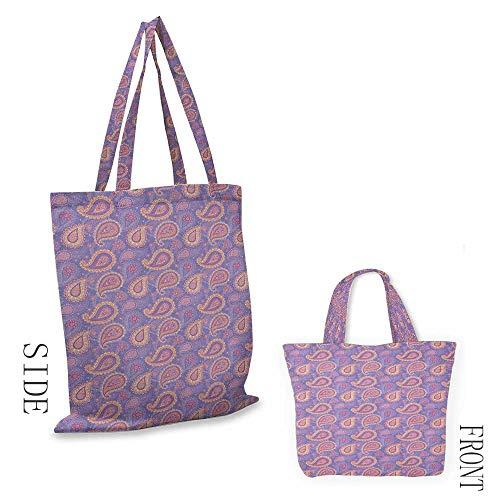 "folding shopping bag EthnicTraditional Bohemian Paisley Pattern Ornamental Persian Psychedelic Folk Lavender Peach Cream18""W x 16""H"