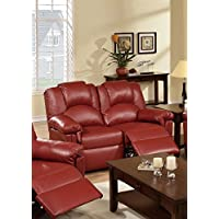 Poundex Motion Love Seat (Burgundy)