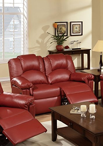Black Seating Theater Collection (Poundex Motion Love Seat (Burgundy))