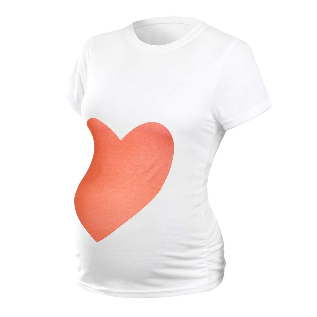 Damen Mom Shirt Roundneck Kurzarm Mutterschafts Karikatu Druck T-Shirt Schwangerschafts Kleidung Elegante Beil/äufige Modus Bluse WUSIKY Mutterschaft Top