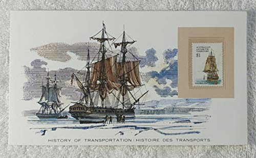 Resolution - Postage Stamp (Australian Antarctic Territory, 1979) & Art Panel - The History of Transportation - Franklin Mint (Limited Edition, 1986) - H.M.S. Resolution, James Cook, Sailing Ship ()