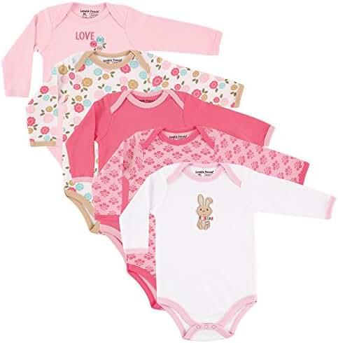 Luvable Friends Baby Unisex Long Sleeve Bodysuits, 5-Pack